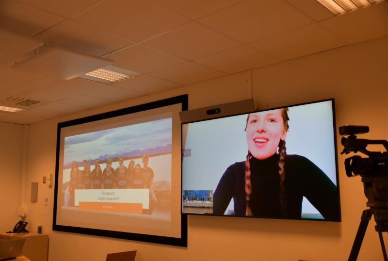 Foto av to skjermar frå videomøte
